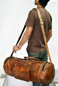 Men-Brown-Vintage-Genuine-Travel-Luggage-Duffel-Gym-Bags-Tote-Goat-Leather
