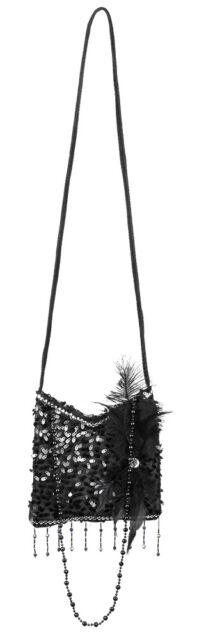 Umhängetasche Flapper 20er Jahre 19x19cm Zwanziger Charleston schwarz Tasche Neu