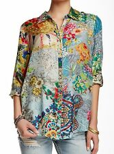 $200 NWT Johnny Was 100% Silk Brightwood Button-Down Shirt Blouse Tunic M L
