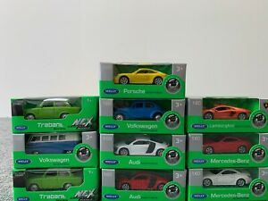 10-unidades-coches-Welly-set-Porsche-ferrari-aston-Bentley-Opel-1-60-modelos-OVP