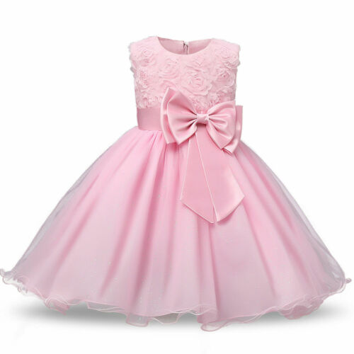 Girls Party Dress Baby Flower Kid Bridesmaid Rose Prom Wedding Dresses Princess