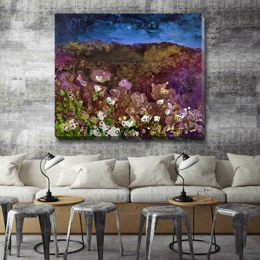 Flower lila Fine Art Stretched Canvas Print Framed Home Office Wall Decor F97