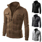 2017 Fashion Men' Slim Fit Stand Collar Coat Tops Military Jacket Outwear Blazer