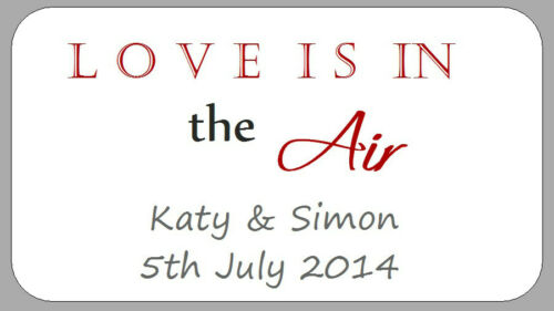 65 MINI WEDDING FAVOUR LOVE IS IN THE AIR LABELS SMALL JAR PERSONALISED STICKERS