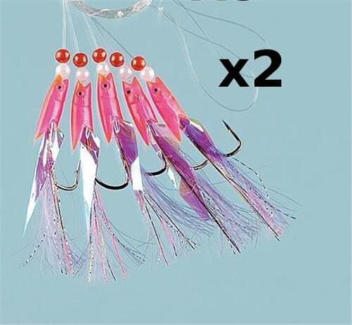 2 Rose Eared Pheasant violet queue de la pêche maritime 5 Crochet Rig 5//0 crochets de cabillaud et maquereau