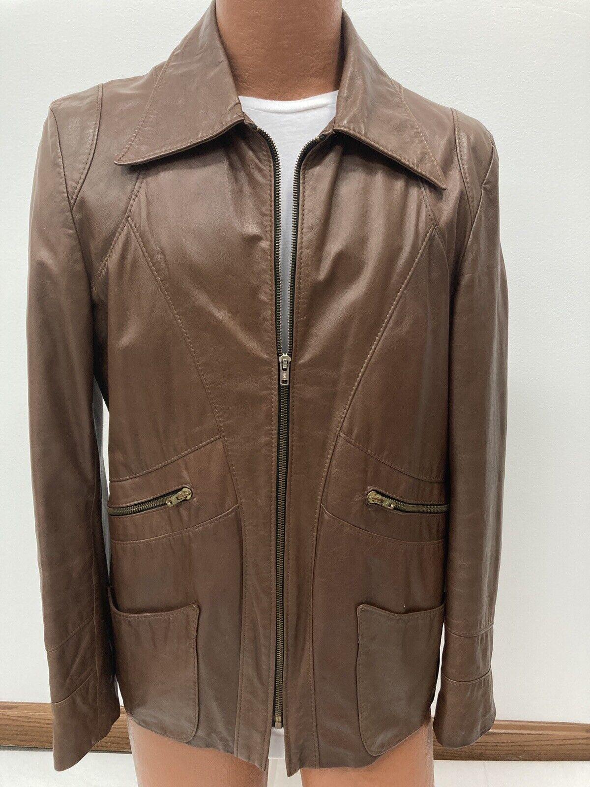 Genuine Vintage 1970s Brown Leather Blazer Jacket… - image 6
