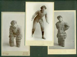 LOT-of-3-c1900-FIERCE-FOOTBALL-PLAYER-PHOTO-FUN-LITTLE-BROTHER-in-SAME-UNIFORM