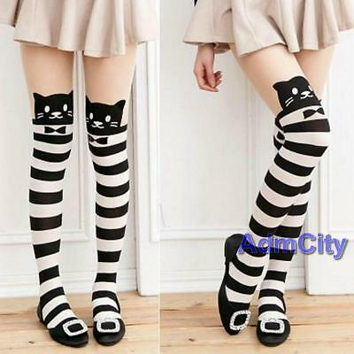 Cute Mock Knee High Cat Kitty Tattoo Striped Tights Stocking Pantyhose Animal