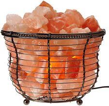 Lamp Basket with Himalayan Salt Crystals, Natural Air Purifying, Dimmer Bulb
