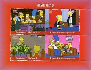 MADAGASCAR-2018-CTO-Simpsons-Homer-Bart-Simpson-4v-M-S-I-FRANCOBOLLI-cartoni-animati