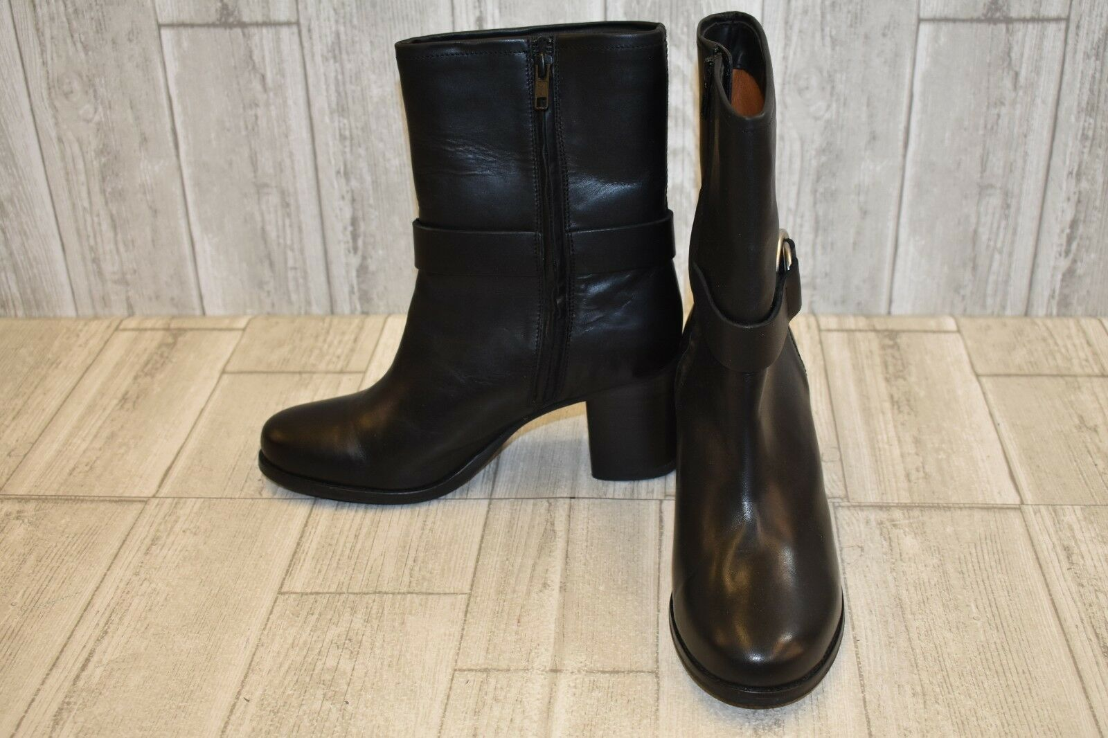 Frye Addie Harness Mid Calf Leather Boots, Women's Size 9.5B, Black