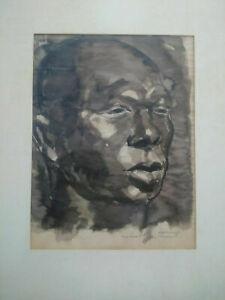 Superbe aquerelle portrait homme tableau signé et encadré