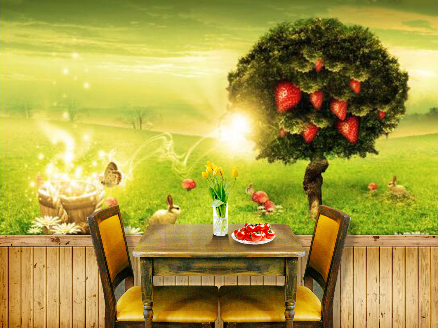 3D Forest fruits nursery Wallpaper Decal Decor Home Kids Nursery Mural  Home