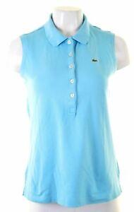 LACOSTE-Womens-Polo-Shirt-Vest-Top-EU-46-XL-Blue-Cotton-Slim-NP07