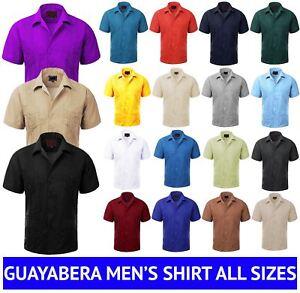 MAXIMOS-MEN-039-S-SHORT-SLEEVE-BUTTON-UP-CUBAN-GUAYABERA-DRESS-SHIRT