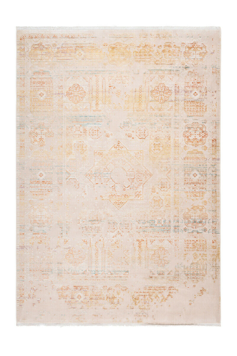 Tapis Modern vintage franges aspect Use d'ornement oriental Couleuré jaune 160x230cm