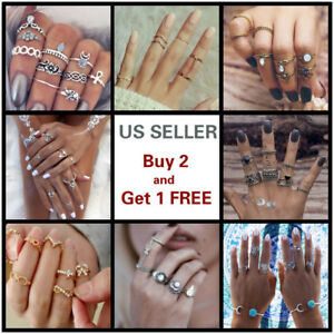 28-Styles-Gold-Silver-Ring-Set-Above-Knuckle-stacking-Band-Midi-Rings-Boho