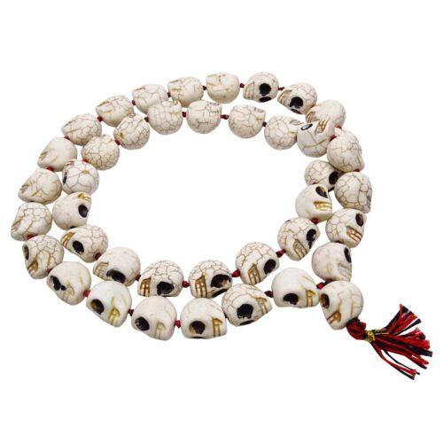 Ceramic Skull Bead Japa Mala Rosary 41 Beads Prayer Necklace Jewelry Meditation