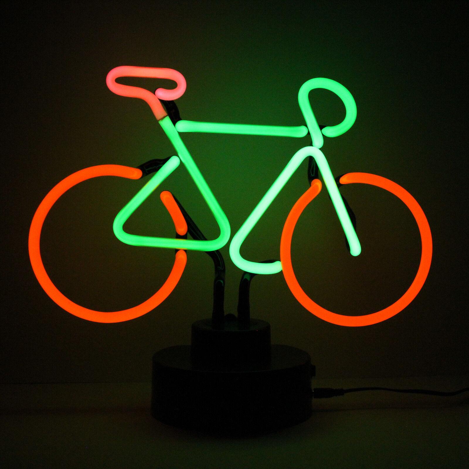 BICYCLE Neon Sculpture Bike Shop AdGrünising Display Sign Table Lamp Shelf Light