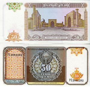 Boy-Uzbekistan-50-Sum-Banknote-1994-P-78-Cash-FRESH-UNC