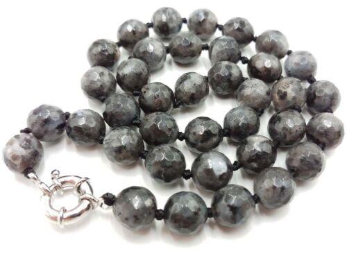 collier environ 45.72 cm 18 in Long 10 mm NATURAL BLACK GRAY Labradorite à facettes perles rondes