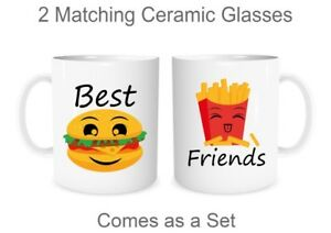 Best Friends Matching Mugs Cute Couples Ceramic Glasses Bff Mugs Valentines Gift Ebay