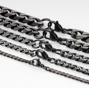 7-11mm-Mens-Womens-Chain-Black-Tone-Curb-Link-Stainless-Steel-Bracelet-7-11inch