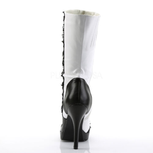 """Funtasma 4.5/"""" Heel White//Black Victorian Button Calf Can Can Witch Boots 6-12"""