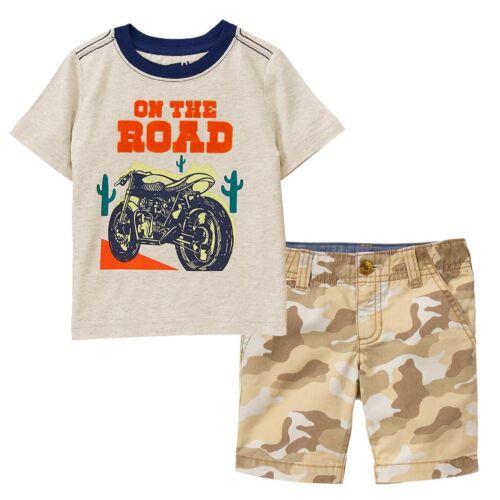 NWT Crazy 8 Boys Sz 4T 5T Dirt Bike On The Road Tee Shirt /& Camo Shorts 2-PC SET