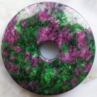 NZ93  Beautiful Ruby in Fuchsite Donut Pendant Bead 50x7mm