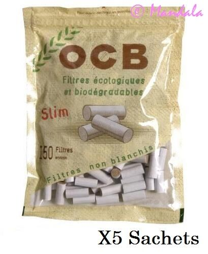 OCB Lot de 5 sachets 150  Filtres SLIM OCB ECO BIO 6 MM