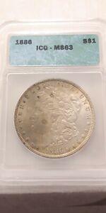 1886-Morgan-Silver-Dollar-1-ICG-MS63-90-Silver-Nice-Coin-with-toning
