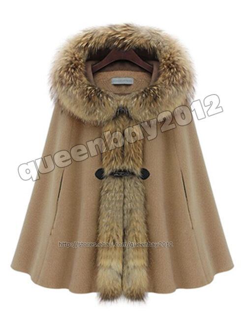 Women Real Wool Cape Poncho Coat Hoody Duffel Botton Fashion Raccoon Fur Trim