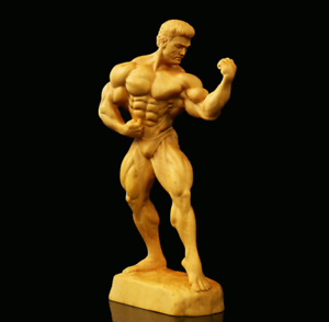 5-9-034-Chinese-Box-wood-Hand-Carving-Beefcake-Strong-Naked-Man-Originality-Statue