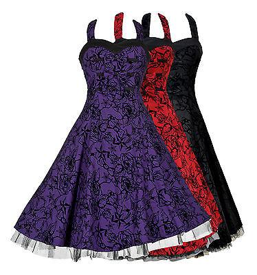 50s Retro Alternative Embossed Flared Prom Party Halterneck Neck Dress New 8-18