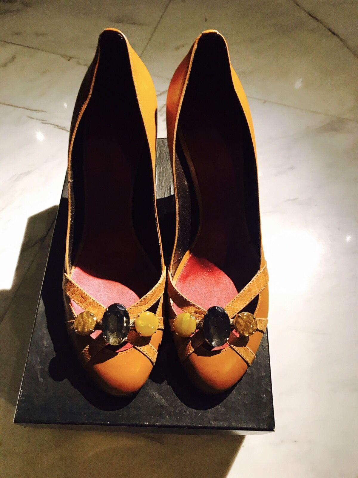 Giuseppe Zanotti Cognac Heels W Stone Embellishments schuhe Pumps Sz40