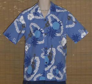 Royal-Creations-Hawaiian-Shirt-Blue-White-Ukuleles-Leis-Pineapples-Size-Medium