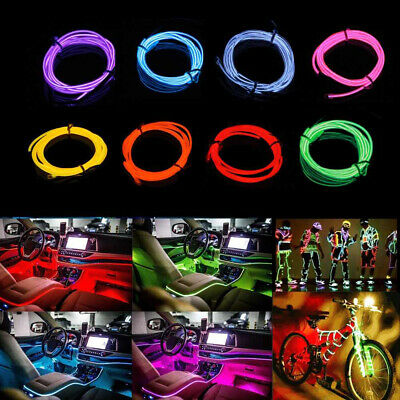 1M 3Meter Battery Operated Luminescent Neon LED Lights Glow EL Wire String Strip