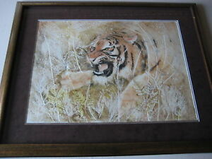 Marilyn-Zapp-Large-Tiger-Original-Etching-amp-Mono-Mixed-Media-Framed-Signed