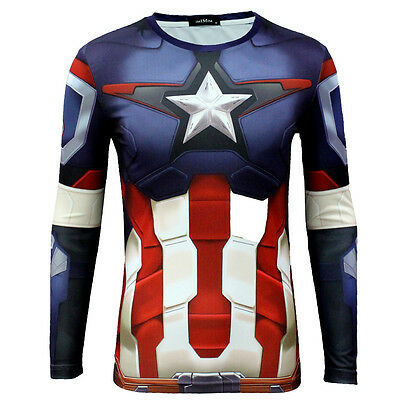 2016 New Men Long Sleeve T-shirt Marvel DC Comics Captain America Cosplay Tops