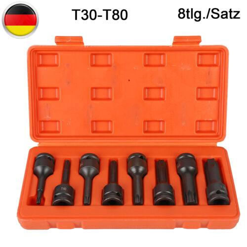 """Kraft Schlagschrauber-Nüsse 1//2/"""" Sechskant 8-tlg Steckschlüssel-Satz T30-T80"""