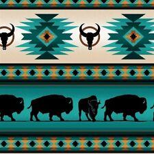 Tucson Southwest Aztec Indian Buffalo Stripe Turquoise Cotton Fabric by the Yard