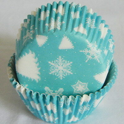 CK11 - Teal Blue white snowflake cupcake liners muffin cases free shipping