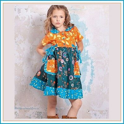 BonEful RTS NEW Boutique 4 5 GIRL VTG Peasant Dress Top Flower Twirl Aqua Cotton