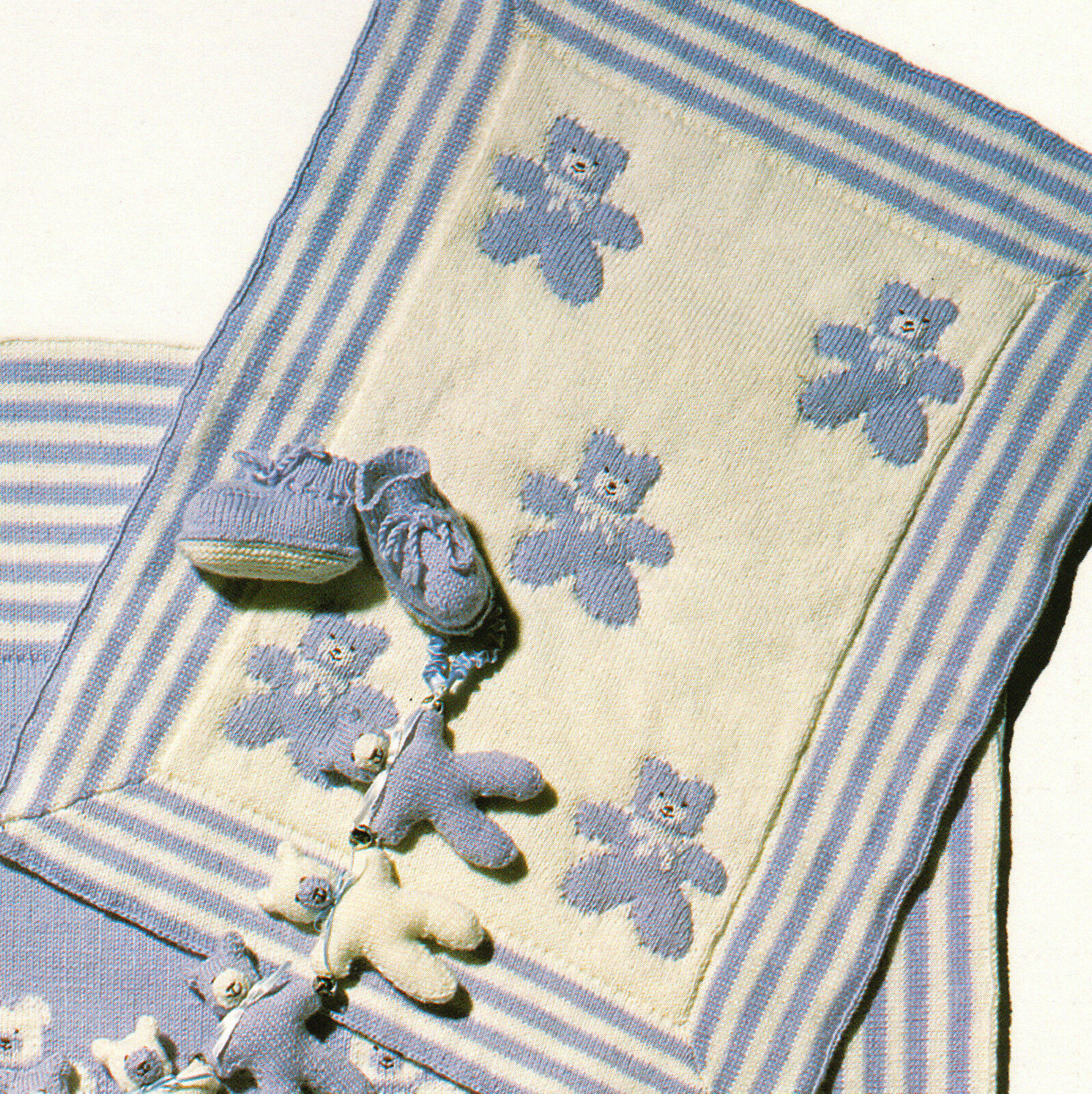 Cute Teddy Bear Baby Blanket & Pram/Cot Cover 4 ply Knitting Pattern ...