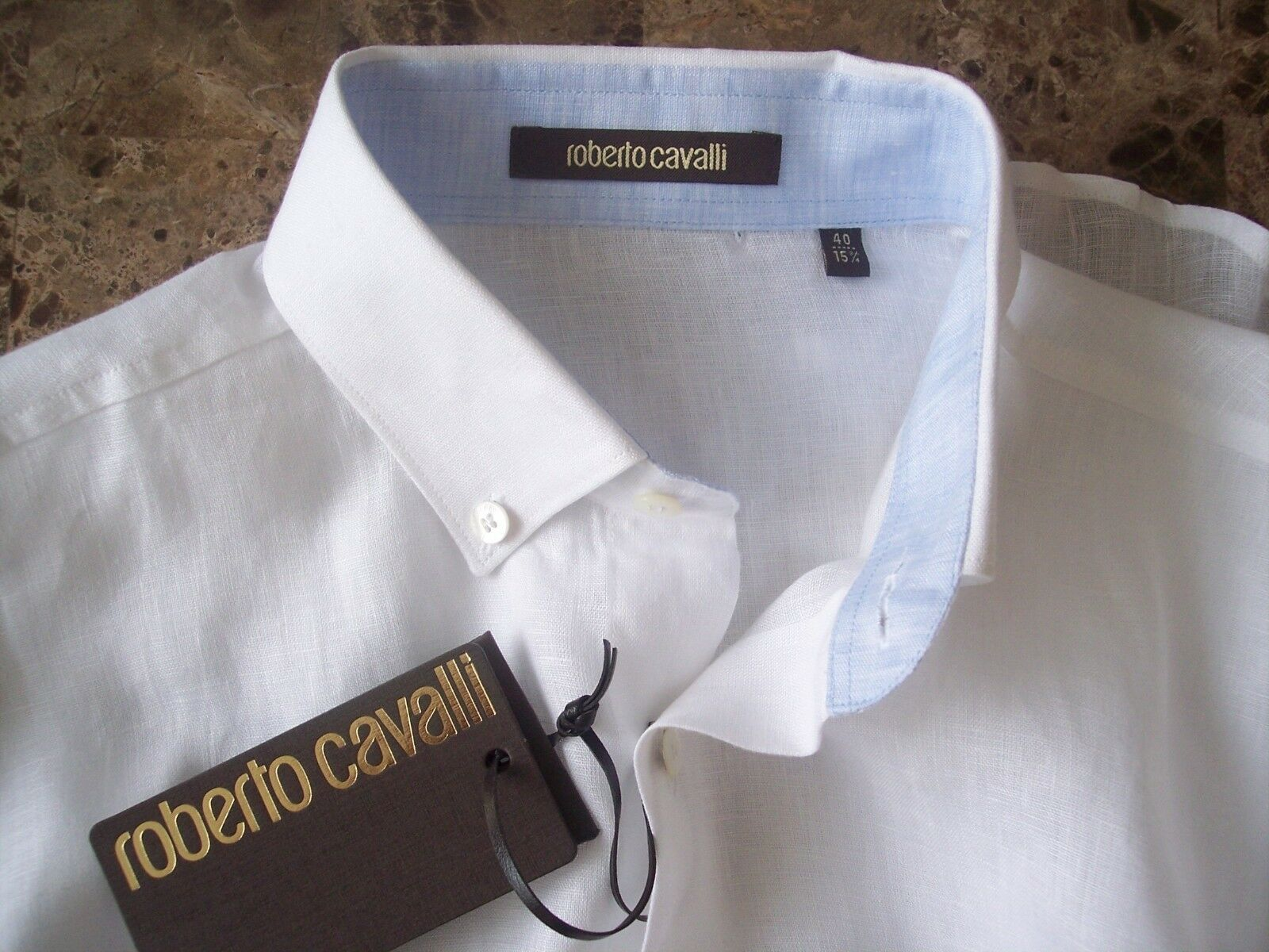 New Authentic ROBERTO CAVALLI Logo Linen Shirt 40 - 15 3 4 ..