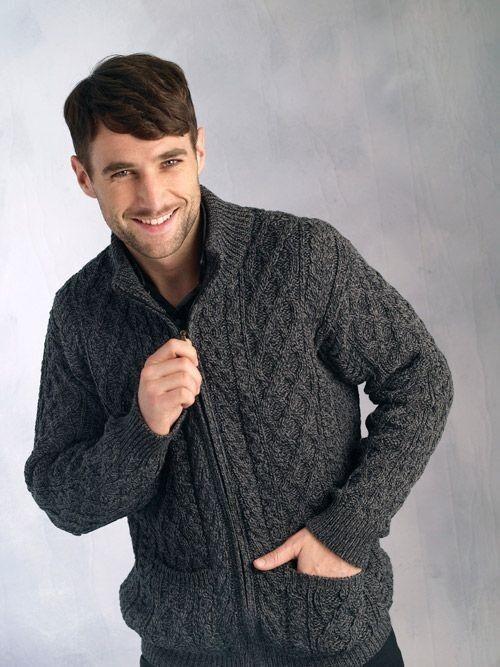 Herren Merino Wool Sweater Cardigan Irish Aran Zip Casual Warm