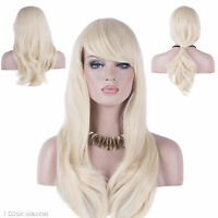 Long Wig Blonde Fashion Full Curly Wavy Human Hair Glamour Heat Resistant Wigs