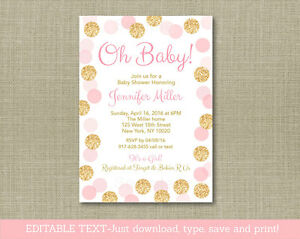 Oh Baby Blush Pink Gold Glitter Printable Baby Shower Invitation