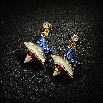 Boucles d/'Oreilles Clips Argenté Etoile Drapeau Américain Bleu Blanc Rouge B8
